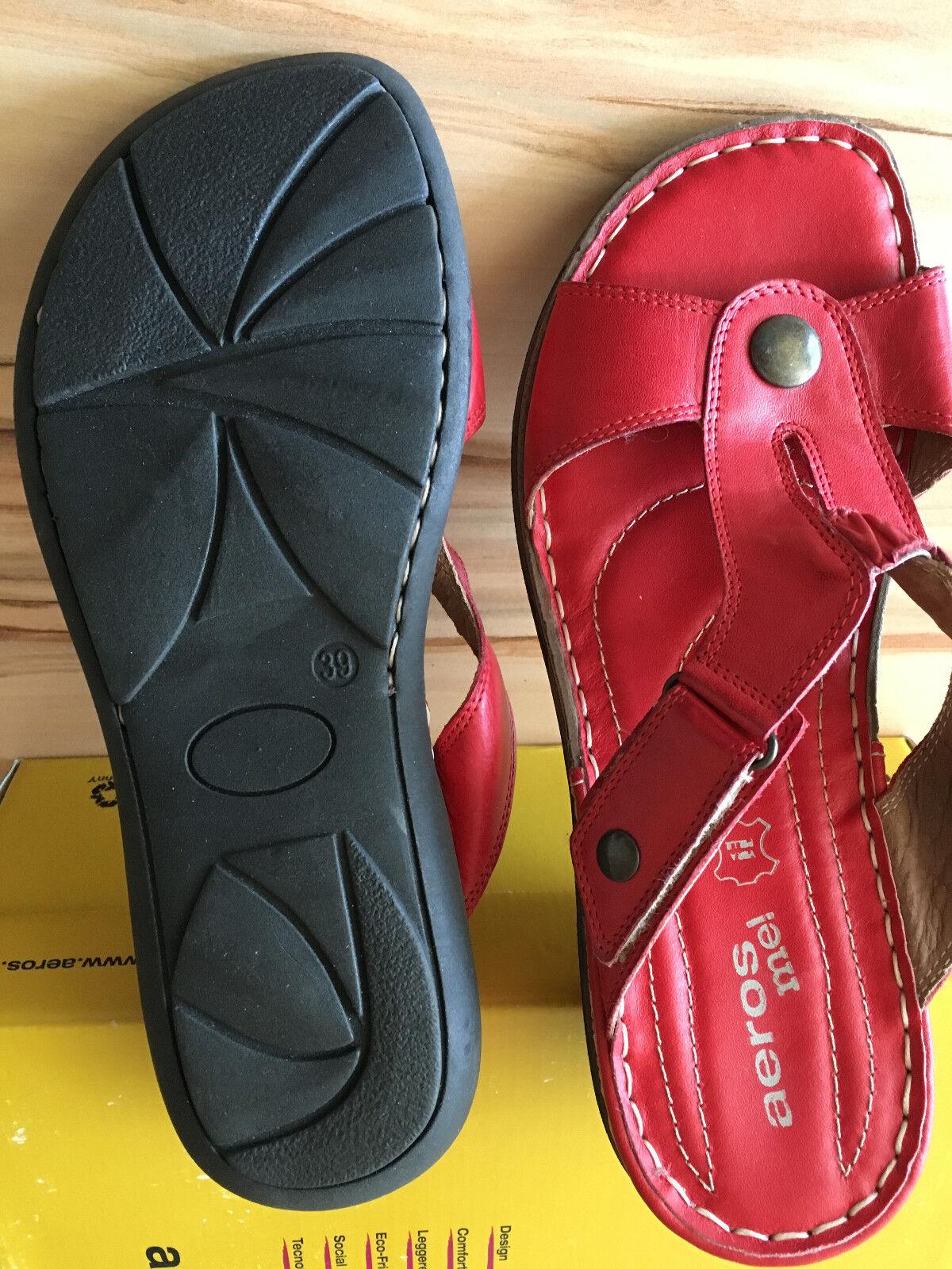 Aeors me  Made in Italy Leder Schuhe Neu Sandalen Gr. 38, Rot, Neu Schuhe mit Karton 2c44c2