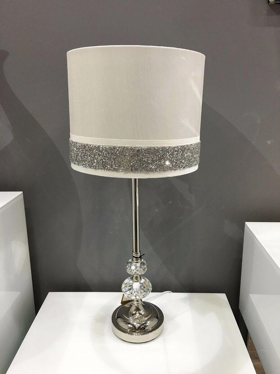 White Chrome Crystal Silver Diamante Sparkle Bedside Table Light Lamp 58cm Ebay