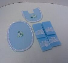 Dollhouse mini 1:12 Handcrafted set 6 blue silk ribbon/bow bath towels & rugs