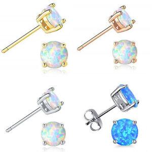 1a403570f4830 Details about Opal Earrings Stud Set Fire 925 Jewelry White Sterling Silver  Round Earrings Set