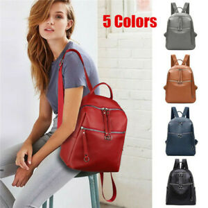 Women-039-s-Backpack-Travel-PU-Leather-Rucksack-Handbag-School-Shoulder-Bag-Medium