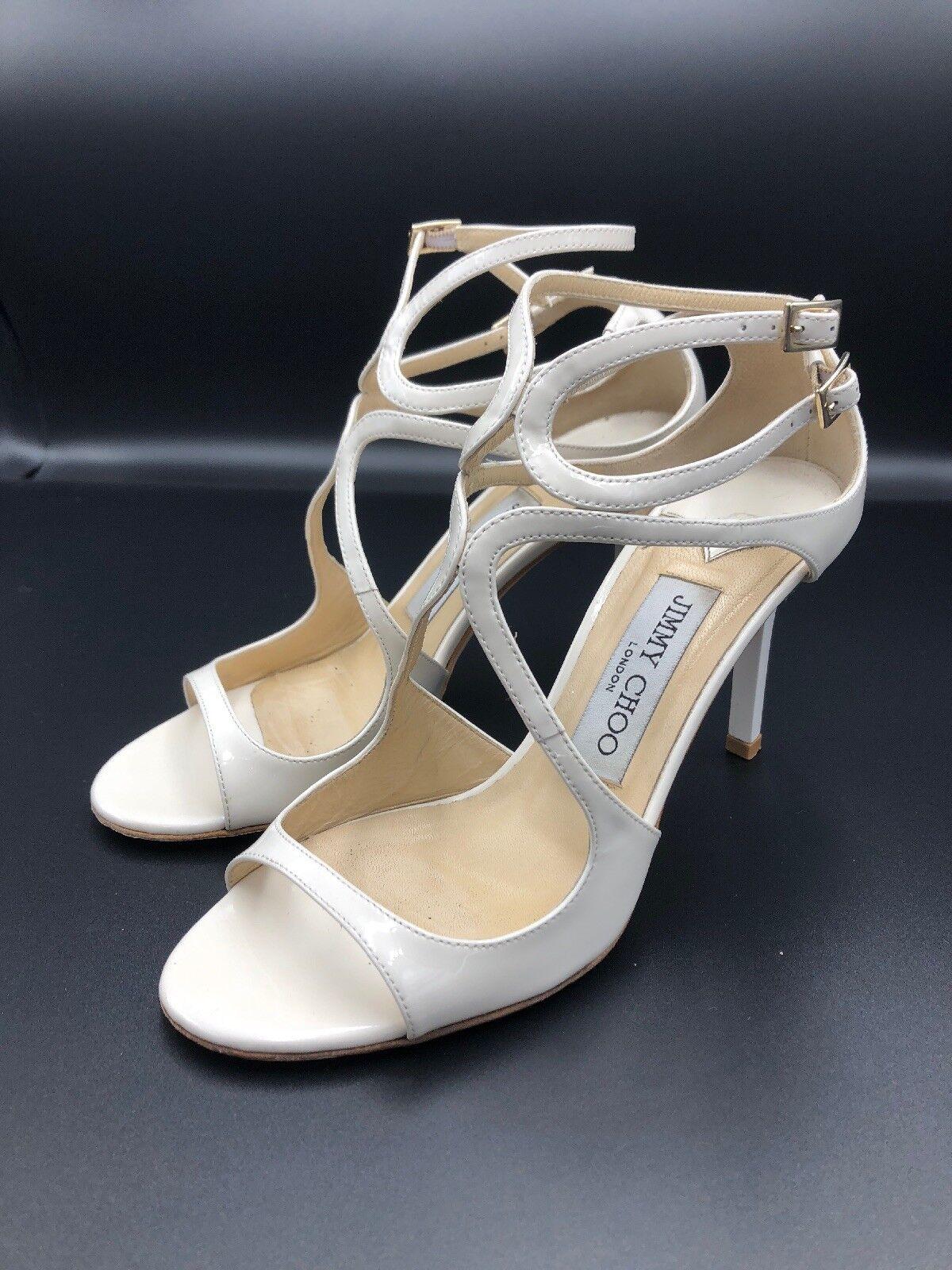 JIMMY CHOO 'ivette' Chalk Weiß Patent Strappy Heels Sandals Größe UK 2 Eu 35