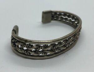 Vintage-Bracelet-7-Cuff-Wife-Braided-Silver-Tone