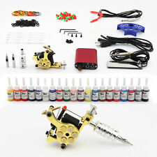 Tattoo Kit Coils Tattoo Machine 20 Inks Needles Power Grips Tips Clip Cords