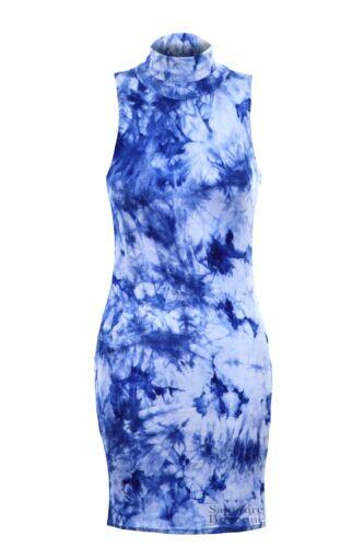Women/'s Tie Dye Turtle Neck Sleeveless Ladies Party Bodycon Dress