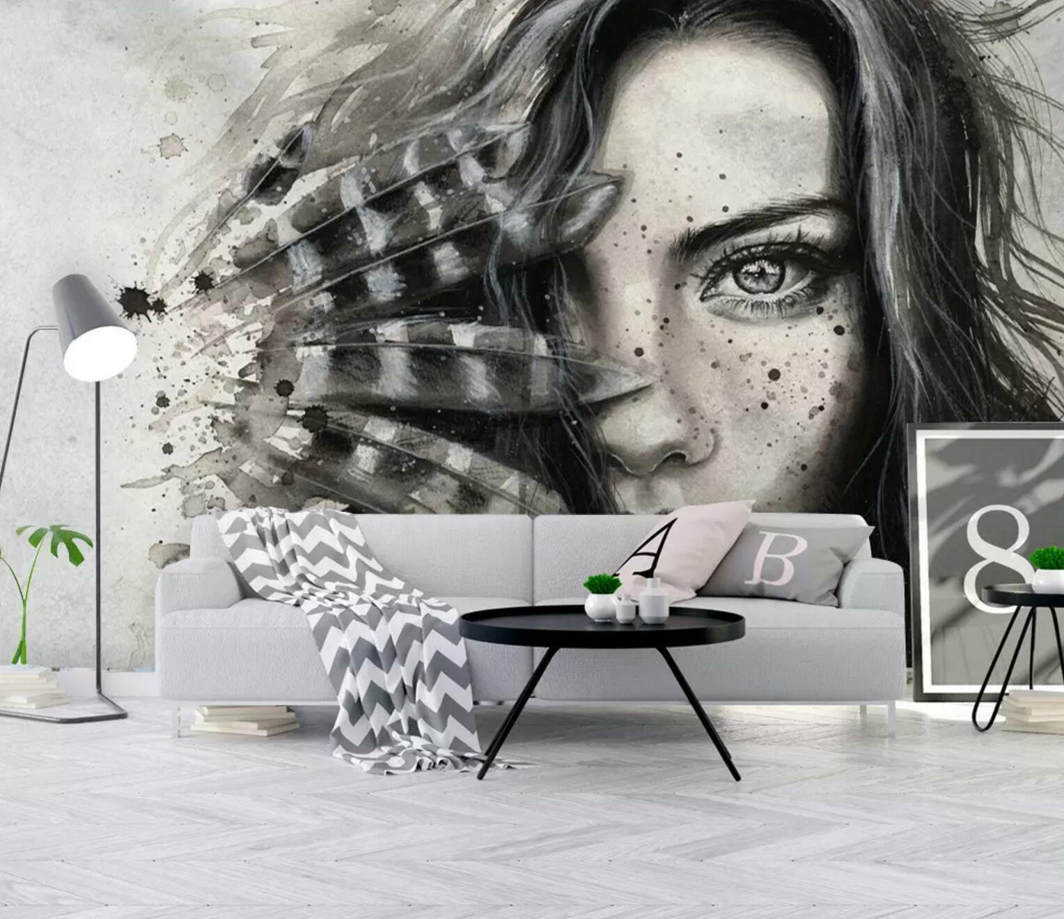 3D Occident Girl 56 Wall Paper Exclusive MXY Wallpaper Mural Decal Indoor wall
