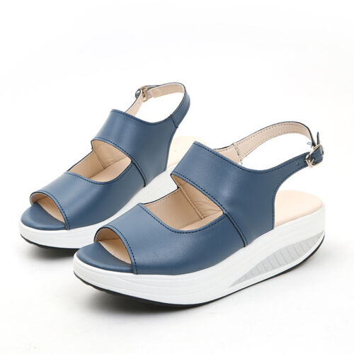 Women Sports Wedge Sandals Walking Platform PU Leather Shoes Summer Slingbacks