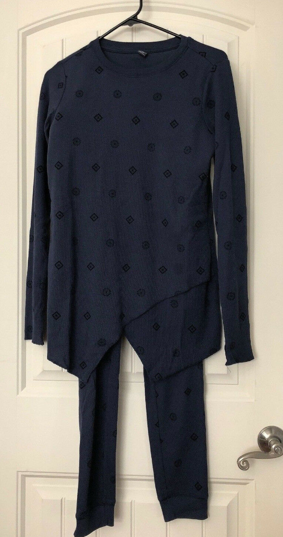 cd970ad417f15a AnyBody Loungewear Cozy Knit Waffle Pajama Set, Navy Medallion, X-Small.  A283669