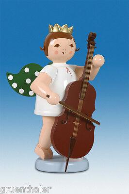 Engelmusikant Engel sitzend mit Geige mit Krone Höhe ca 6 cm NEU Erzgebirge Holz