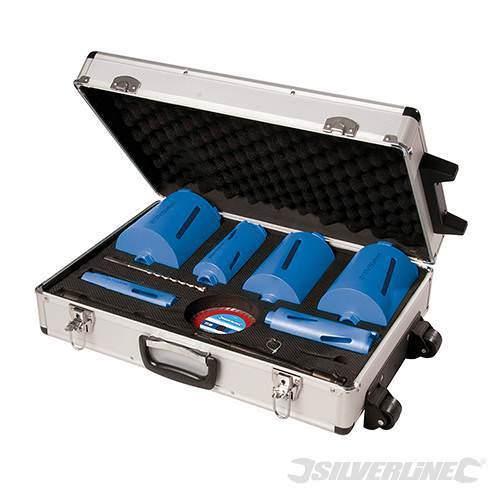 Steel Body Diamond Core Drill Kit 6 Core 12pce 38mm 52mm 65mm 107mm 117mm 127mm