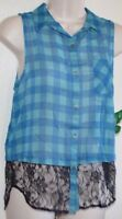 Cute D.o.l Retro Blue With Black Lace Bottom Button Up Top Shirt Juniors Size M