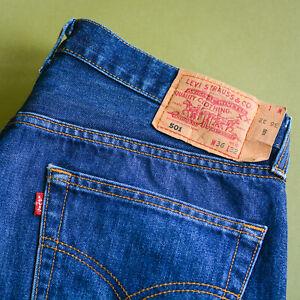 Levi 501 Jeans blau Straight Button Fly Vintage Unisex (labelw 36l32) W 34 L 31