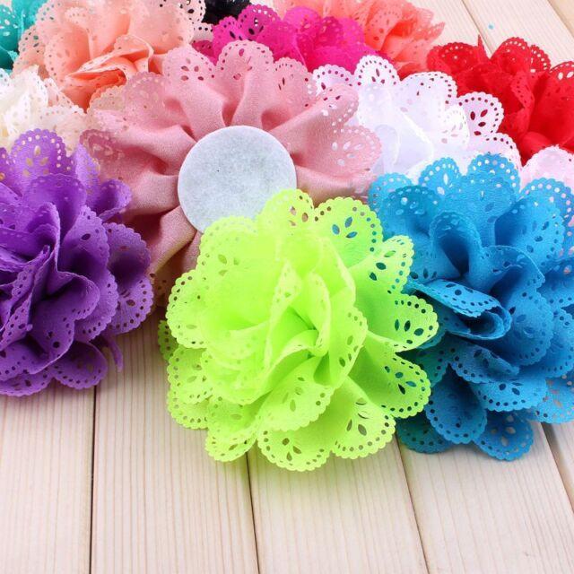 50pcs Eyelet Silk Fabric Flowers For Baby Headbands Hair Accessories Craft DIY