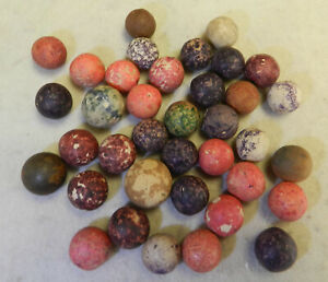 #12900m Vintage Group or Lot of Old Mixed Clay Marbles .52 to .70 In