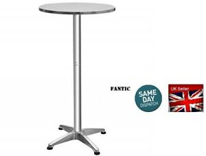 Bistro-Foldable-Poseur-Round-Aluminium-Bar-Table-2-Adjustable-Heights-Stainless