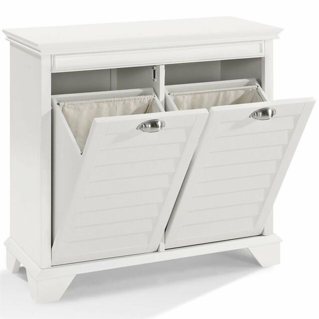 Yaheetech White Single Tilt Door Laundry Hamper Bathroom Cabinet Storage Bench For Sale Online Ebay