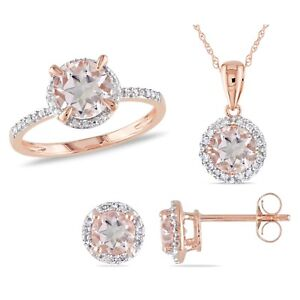 Image Is Loading Amour 10k Rose Gold Morganite And Diamond Halo