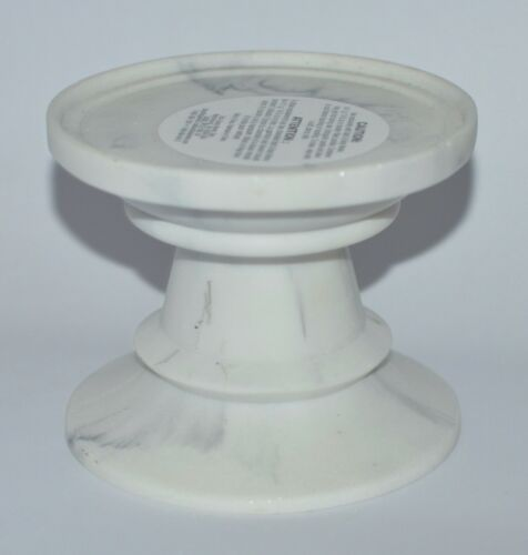 BATH /& BODY WORKS WHITE MARBLE PEDESTAL LARGE 3 WICK CANDLE HOLDER STAND 3 WICK