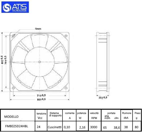 Me80201v3-a99 ventole assiale 80x80x20mm 12v = 49,2m³//h 30dba