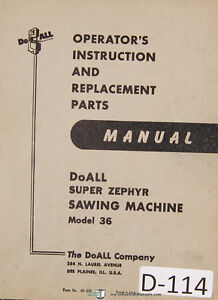doall 36 super zephyer band saw instructions and parts list manual rh ebay com Owner's Manual Procedure Manual