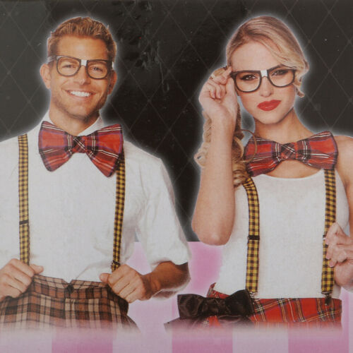 Funny Bow Ties Black Fun Glasses Nerd Geek Costume Set Party Fancy Dress