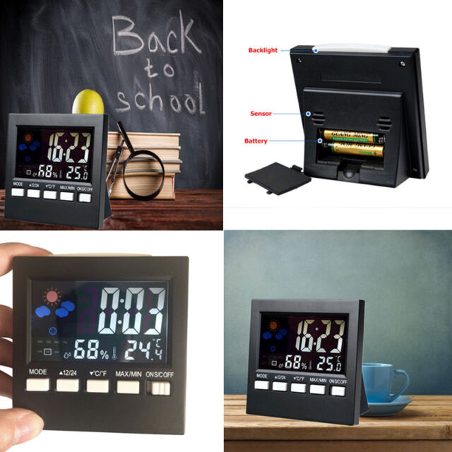Digital LCD Clock Thermometer Hygrometer Temperature Humidity Meter C/F Gauge