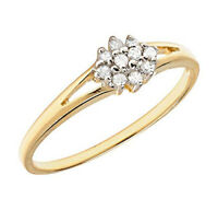 10k Yellow Gold Diamond Cluster Promise Ring