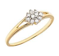 10k Yellow Gold Diamond Cluster Promise Ring