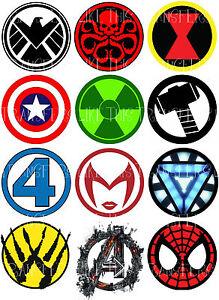 super heroes logo marvel avengers sticker wall deco | ebay