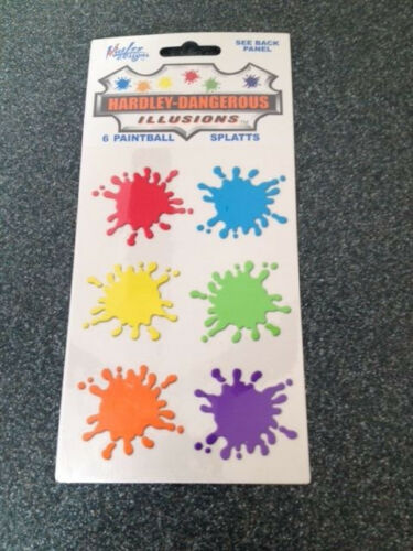 """***2 PACKAGES Hardley Dangerous Illusions 12 PAINTBALL SPLATTS Stickers 2/"""" EA"""