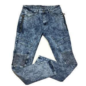 Versace V1969 Italia Abbigliamento Para Hombres Pantalones Jeans Moto Lavado Acido 32x32 Ebay