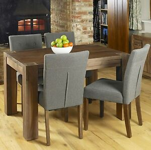 Shiro Solid Walnut Dark Wood Modern Furniture Dining Table And Four Chairs Set Ebay