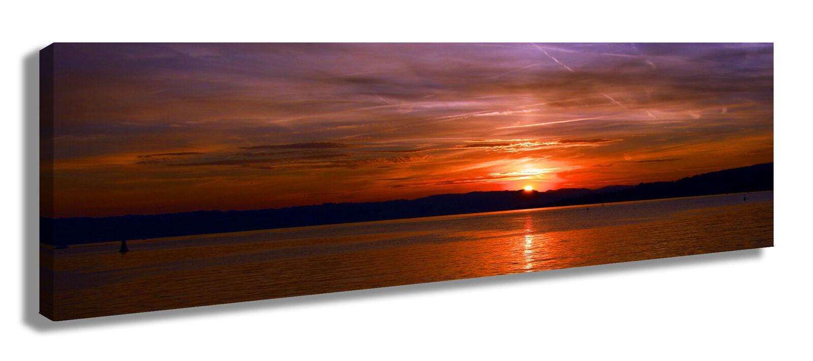 Panorama Wandbild Leinwandbild  Sonnenuntergang Himmel Wolken See