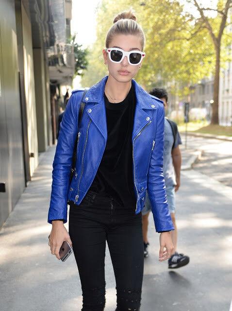 Hailey Baldwin Slimfit ShortBody Womens bluee Biker Leather   All Sizes
