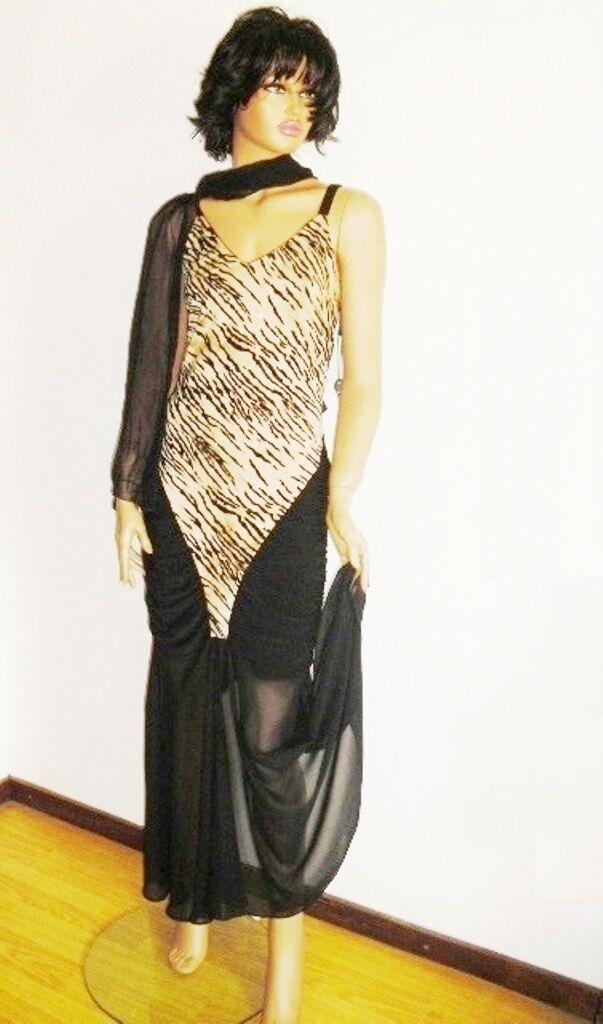 Salsa Tango Cocktail Gala Abend Kleid Tigermotiv schwarz stark Stretch G. 36-40