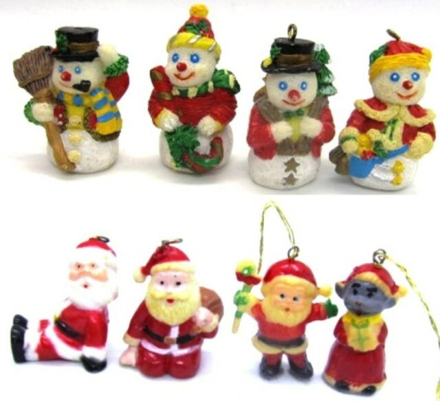 Santa & Snowman lot of 8 Small Miniature Christmas Ornaments