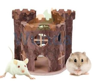 TRIXIE-MATTI-DWARF-HAMSTER-MOUSE-NATURAL-WOOD-PLAY-HOUSE-HIDE-CAGE-CASTLE-6168