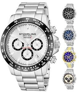 "Stuhrling 891 Men's Sport Formula ""i"" Stainless Steel Chronograph Watch"