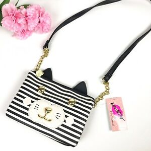 NWT Betsey Johnson Kitty Cat Black White Stripe Crossbody Gold Chain ... 35a76803de0d7