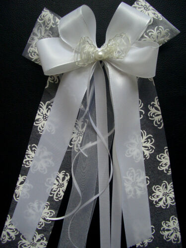 crema blanco /& Rose perla * espejo 2 XL * boda * auto bucle antenas bucles set