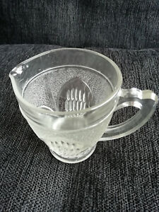 11159-Lovely-little-clear-glass-milk-jug-vintage-retro-w-frosted-amp-clear-glass