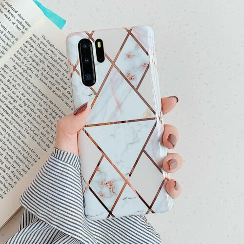 Phone Case Electroplate Geometric Marble Mobile Anti Shock Soft Imd Back Cover