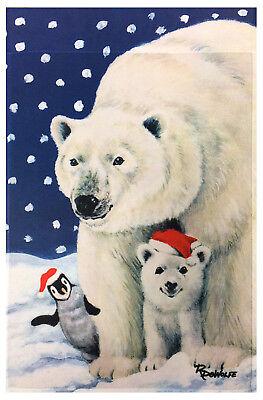 "New  Polar Bears Garden Flag 12/""X18/"" Designer Winter Decorative Flag Cute Banner"
