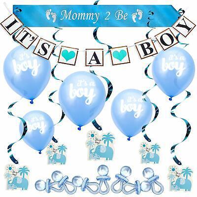 Baby Shower Boy Decoracion.Globos Banner Remolinos Elefante Azul Decoraciones Para Baby Shower De Nino Set 689828057351 Ebay