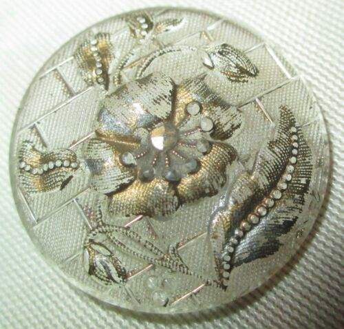 19th c. ANTIQUE VICTORIAN BUTTON - CLEAR LACY GLASS FLOWER w GOLD LUSTER - 7/8""