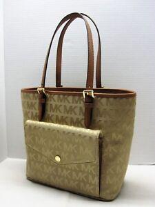 MICHAEL-MICHAEL-KORS-Camel-JET-SET-ITEM-MD-POCKET-MF-Tote-Bag-Handbag-Purse