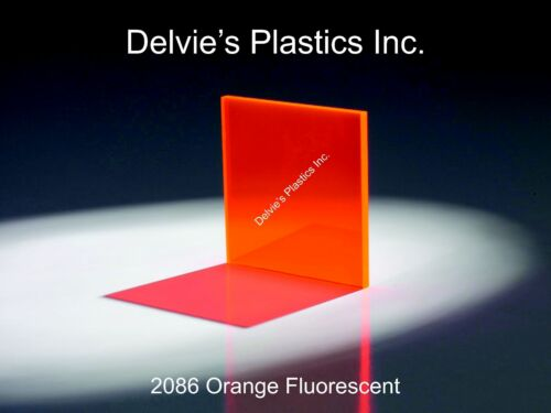 "1//8/"" 2086 Fluorescent Orange Cell Cast Acrylic Sheet  24/"" x 24/"""
