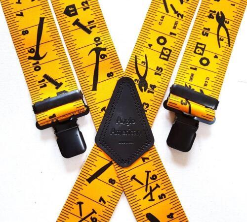 """Mens Tape Measure Braces Heavy Duty 1.5/"""" or 2/"""" Work Trade Motorbike Black Clips"""