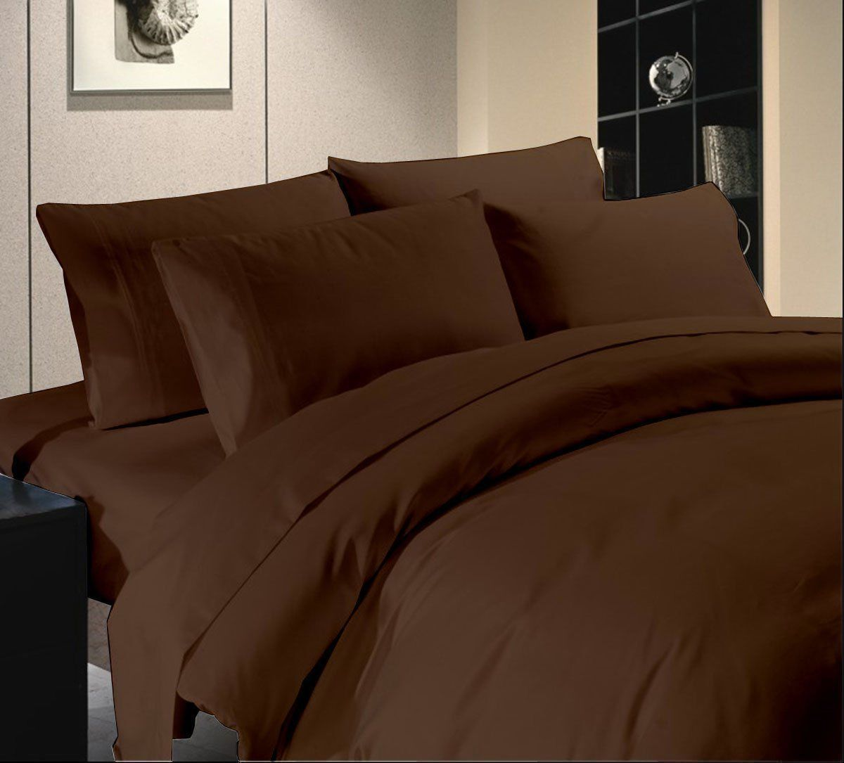 DUVET SET + FITTED SHEET CHOCOLATE SOLID PREMIUM BEDDING ALL SIZES 1000 TC EGY