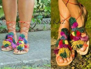 5c5af23138025 Details about ZARA Multicoloured LEATHER Flat Tie Up POMPOM Sandal Shoes 38  5 BNWT
